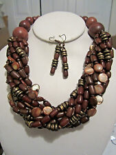 Multi Brown Multi Strand Twisted Shell And Wood Bead Chunky Necklace Earring Set