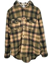 Outdoor Life Plaid Flannel Fleece Shirt Mens Medium M Button Down Thick Sherpa