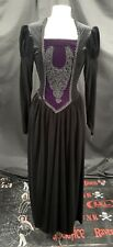Vintage Gótico Negro Terciopelo Vasco Raven exuberante vestido M UK 10/12