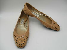 JIMMY CHOO natural patent leather star cut-outs ballet flats sz 38
