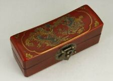 CHINESE OLD LEATHER WOOD HANDWORK PAINTING DRAGON PHOENIX JEWEL BOX