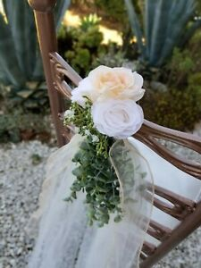 Wedding Chair/Pew Decor ivory tulle satin bow art. eucalyptus & flowers