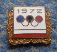 NOC POLAND OLYMPIC MUNICH SAPPORO 1972 - 3 TIER GOLD VERSION ENAMEL PIN BADGE
