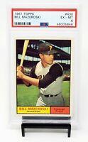 1961 Topps HOF Pirates Star BILL MAZEROSKI Vintage Baseball Card PSA 6 EX-MINT
