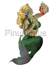 Zombie Mermaid Pinup Girl Waterslide Decal Sticker S1108
