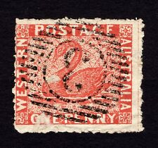 WESTERN AUSTRALIA (WA) 1864 1P RED-BROWN PERF SPIRO FORGERY SWAN STAMP