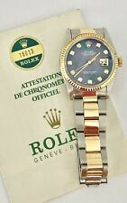 Rolex DateJust 16013 Automatic Watch 14K Oyster Diamond Tahitian MOP Dial Papers