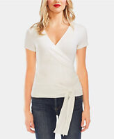 VINCE CAMUTO Women Short Sleeve Basic White TOP SIZE M Faux-Wrap Tie-Hem
