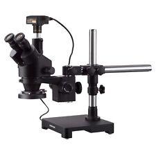 Amscope 7x 45x Trinocular Stereo Zoom Microscope Boom Ring Light 3mp Camera