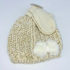 New Addie & Tate 2 pc hat and mittens infant sz 12-24 M velour chenille