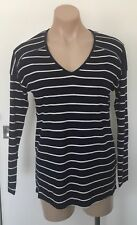 NEW SPORTSGIRL LONG SLEEVE NAVY STRIPE LONG SLEEVE TOP SIZE 10 S