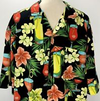 Sun Casuals Camp Aloha Hawaiian XL Shirt Cocktails Mai Tai Black Floral