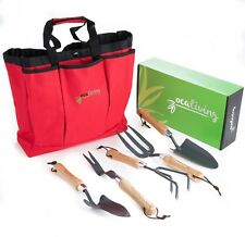 Garden Tool Set - 6 piece with Cherry Red, Weather-Resistant Storage Bag