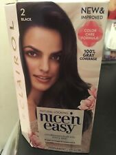 NEW SEALED Clairol Nice'n Easy Hair Color Black #2  Permanent 100% Gray Coverage