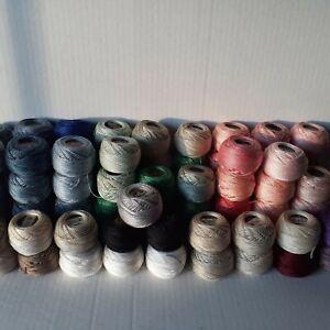 DMC Cotton Pearl Balls Lot of 89- Coton Perle #5,8 &12- Mixed Colors