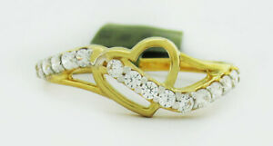 WHITE SAPPHIRES 0.42 Cts HEART RING 10K GOLD * New With Tag *