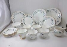 COCLOUGH ENGLAND CHINA Set 24 PC Lot White Gold Tone Porcelain Fine Bone China