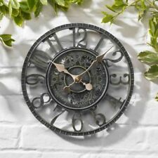 "Outside Wall Clock Newby Mechanical Verdigris 12"" Rustic Garden Outdoor/Indoor"
