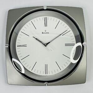 Bulova Decorative Wall Valcourt Metallic Silver Clock C3041 EXCELLENT CONDITION!