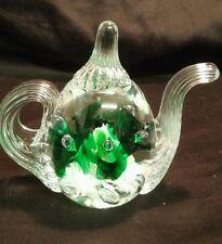 Miniature Collectible 1997 Gibson Crystal Green Flower Tea Pot.