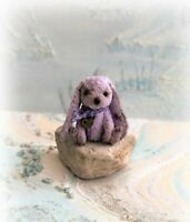"3"" Faux Fur Little Baby Palma Violet Bunny Rabbit OOAK Artist teddy bear"
