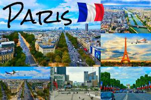 PARIS, FRANCE - SOUVENIR NOVELTY FRIDGE MAGNET - SIGHTS / FLAG / NEW / GIFTS