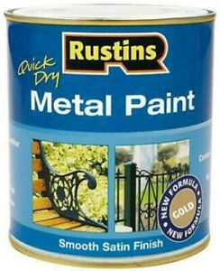 ☆Rustins Quick Dry Metal Paint Gold 250ml Smooth Satin Finish No Pimer needed☆