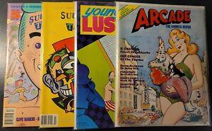 Vintage Underground Comix 4 Book Magazine Lot Arcade Young Lust Sub Tattoos