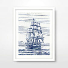 GALLEON SHIP ILLUSTRATION SEASIDE NAUTICAL ART PRINT Blue Decor Wall Picture