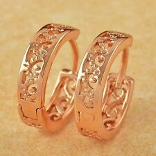 Pretty New 9K Rose Gold Filled Small Shiny Scroll Cutout Huggie Hoop Earrings