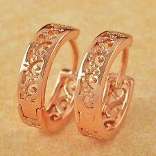 Cute New 9K Rose Gold Filled Small Shiny Scroll Cutout Huggie Hoop Earrings