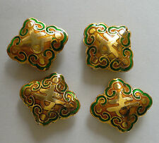 4 Ornate Diamond-shaped Cloisonne Character Beads, Peach/Gold/Green 17 x 20 mm