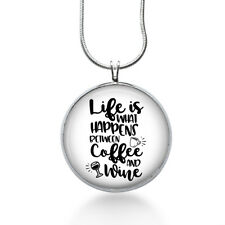 Coffee and Wine Necklace - Quote Pendant - Funny Jewelry gifts for Women