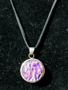 Sterling Silver Artisan Crafted Dichroic Glass Charm Pendent Leather Necklace D4