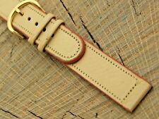 Gold Tone Buckle 16mm Mens Unused Long Nos Vintage Tan Calfskin Watch Band with