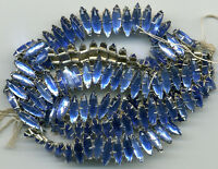 Vintage Sapphire Blue Rose Montee Beads 11x4mm Glass Navette Sew Ons 12 Pcs.