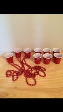 Party! 3 Red Solo Cup Shot Necklaces  & 3 Pairs Earrings Whiskey Girl Toby Keith