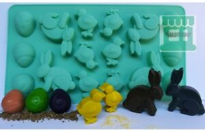 Easter Theme Egg Bunny Chick Jelly Ice cube Chocolate Silicone Mold Molder