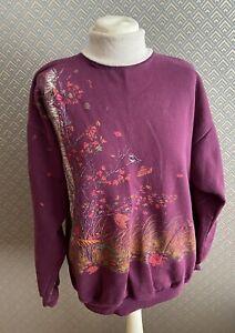 Womens Vintage Size 14-16 Large  Art Forest Print Sweatshirt Roll Neck Birds