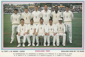 cricket card postcard England West Indies test 1991 Leeds