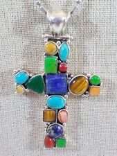 """Sterling Silver Multi-Gemstone Cabochons Cross Pendant Beaded Chain Necklace 24"""""""
