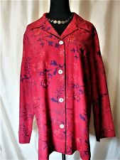 EUC Chicos 2/L 100% Silk Red Burgundy Floral Embroidery Beads Jacket Blouse