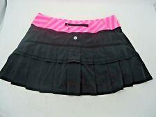 Lululemon Women Size 8 REG. Run  Skirt Skort Black Pink Ruffle Tennis 3 pockets