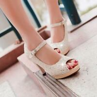 Glitter Womens Ankle Strap Buckle Peep Toe High Heel Shoes Pumps Sandals Size