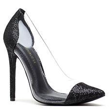 Shoe Republic Black Gold Silver Glitter Pump PVC Heels Women's shoes Andriana
