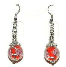 E186p Red Lampwork Glass Silver Tibetan Cap w Brass Hooks Dangle Earrings 1pr