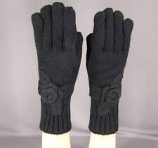 "Black knit flower floral ladies winter gloves 10.5"" long"