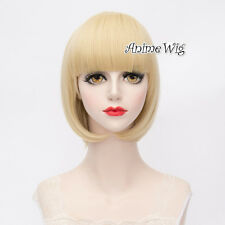 Spider Gwen Light Blonde Short Bob Bangs Halloween Cosplay Wig Heat Resistant