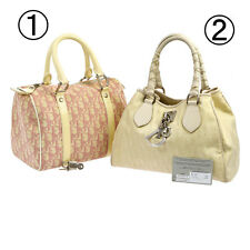 Auth CHRISTIAN DIOR Trotter Lady Dior Hand Bag 2 Set Pink Beige PVC Nylon A34445