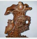"""Antique Vtg Chinese BIRDS n TREE Hard Wood Carving Statue Glass Eyes 10.5"""" signd"""